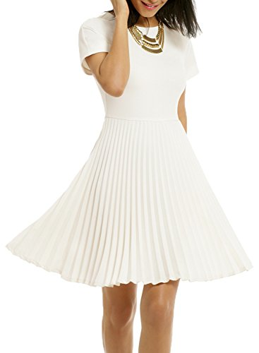 WOOSEA Women's Elegant Pleated Short Sleeves Cocktail Party Swing Dress (Small, White)