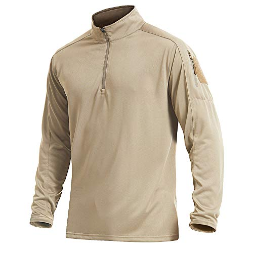 EKLENTSON Herren Joggingshirts Trainingsshirts Polohemden Laufshirts Freizeit Casual Shirts Polo Breathable Quick Dry, Khaki