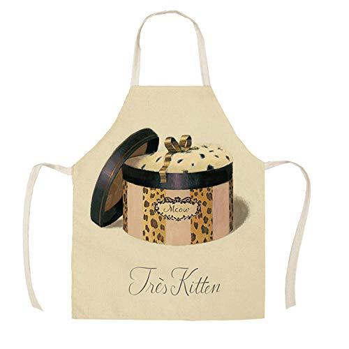 JJFU Keukenschort 1 stuk keukenschort parfum glazen decoratief gedrukt mouwloos katoen linnen schorten mannen vrouwen reinigingsgereedschap 55 * 68 cm Wq27307_38X47 cm