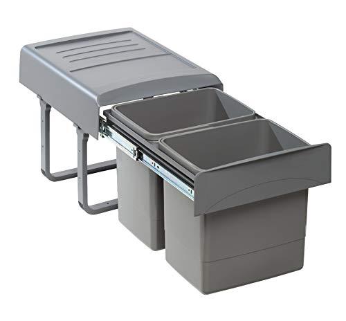 Quellmalz 01021211 Wesco 30DT Poubelle de cuisine encastrable avec couvercle automatique à levier pour placard de cuisine à partir de 30 cm 16 l