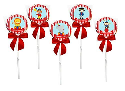 Irpot 10 Lecca Lecca Spirale da 30 gr + 10 Targhette / Toppers per Festa a Tema Circus Party