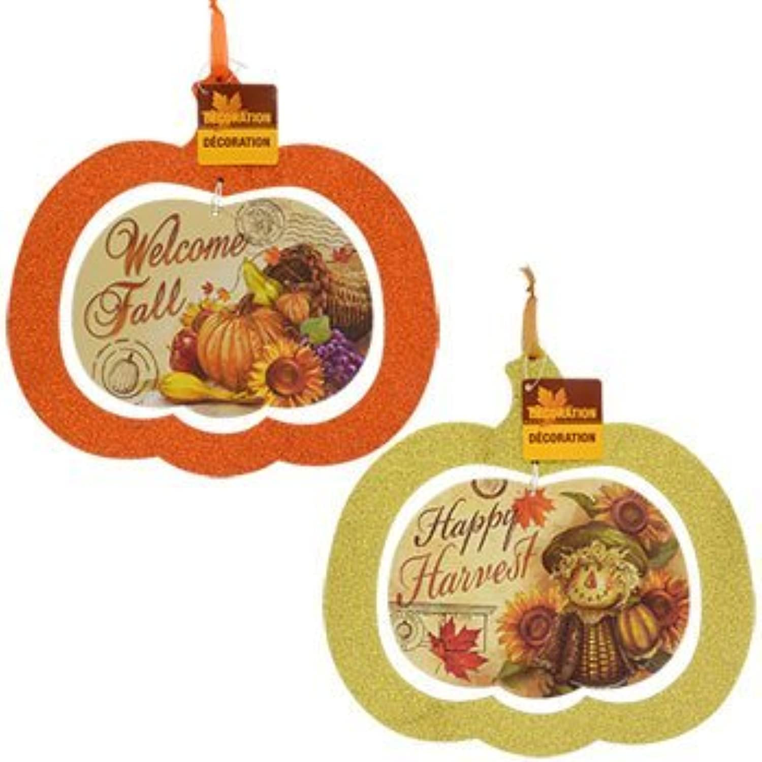 Fall Harvest Glitterot Jack-O-Lantern Pumpkins Halloween Decor Bundle Decoration Harvest Thanksgiving Window Decoration (Set of 2) A by Thanksgiving