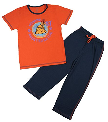 Cocuy Schlafanzug T-Shirt Hose lang Mohawk Indianer (110, Orange)