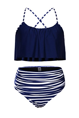 Aleumdr Womens Ruffle Crop Top High-Waisted Padded Bikini Set Swimsuit Thin Shoulder Straps Sexy Swimwear S Size Navy Blue