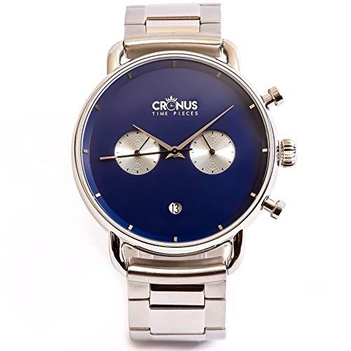 Cronus Time Pieces ERA 1.0 - Reloj analógico para hombre de acero inoxidable en plata real para hombre
