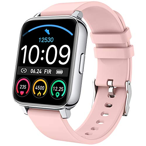 Rinsmola Smartwatch, Reloj Inteligente Mujer Pantalla TFT de 1.69  , Pulsera de Actividad con Monitor de Sueño, Pulsómetro, Podómetro, Cronómetros, Calorías, IP67 Impermeable para Android iOS, Rosa