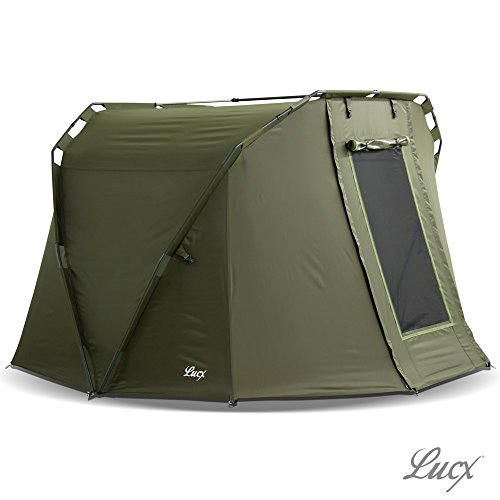 Lucx Caracal Fishing Tent 1 to 2 Man Bivvy 2 Person Carp Dome Fishing Tent 295 x 290 x 165 cm 10,000 mm Hydrostatic Head Camping Tent