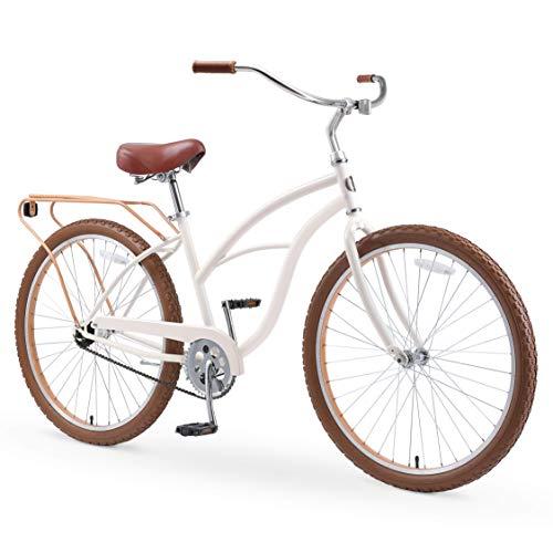 "sixthreezero Around The Block Women's 26"" Single Speed New Beach Cruiser Bicycle with Rear Rack, Cream Coffee"
