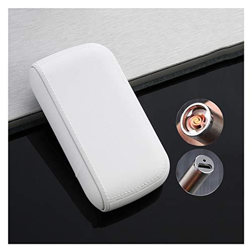 Zigarettenetui mit integriertem USB-Feuerzeug, 2-in-1 Aluminium Zigarettenbox, Tragbar Zigarettenschachtel, wiederaufladbar flammenlos Winddicht für 10 Stück Normale Zigaretten Männer Geschenk,Weiß