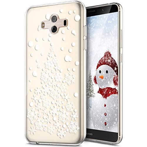 Rann.Bao Coque Compatible pour Huawei Mate 10 Coque Silicone TPU Transparente Housse Crystal Souple Gel Motif Noël Ultra-Mince de Protection Couvertur