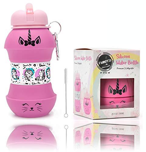 AToZ UK Botella de Agua Unicorn para niñas, Botella de Agua Reutilizable de Silicona Plegable de 550 ml, sin BPA, a Prueba de Fugas, Divertido diseño de Bola única con Estampado Exclusivo (Rosada)