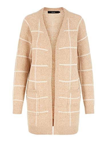 VERO MODA Damen Vmdoffy Jacquard Ls Check Cardigan Boo Strickjacke, Mehrfarbig (Tobacco Brown Tobacco Brown), 34 (Herstellergröße: XS)