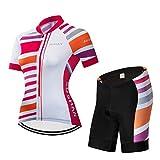 X-Labor Maillot de ciclismo para mujer de secado rápido, camiseta de manga corta + pantalones cortos con acolchado 3D para el asiento de bicicleta MTB, diseño 2 M