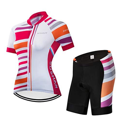 X- Labor Maillot de ciclismo para mujer de secado rápido,  camiseta de manga corta + pantalones cortos con acolchado 3D para el asiento de bicicleta MTB,  diseño 2 M