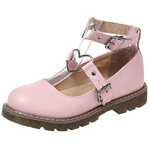 Etebella Damen Flache Round Toe Plateauschuhe Nette Prinzessin Sweet Lolita Cosplay Schuhe (Rosa,40)