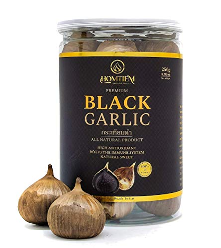 Homtiem Black Garlic 8.82 Oz (250g.), Whole Black Garlic Fermented for 90 Days, Super Foods, Non-GMOs, Non-Additives, High in Antioxidants, Ready to Eat for Snack Healthy, Healthy Recipes