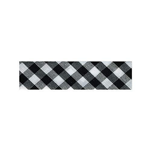 M & C Disquette 25m Biais Vichy tissé Polyester et Coton 30mm - Noir 4961-014
