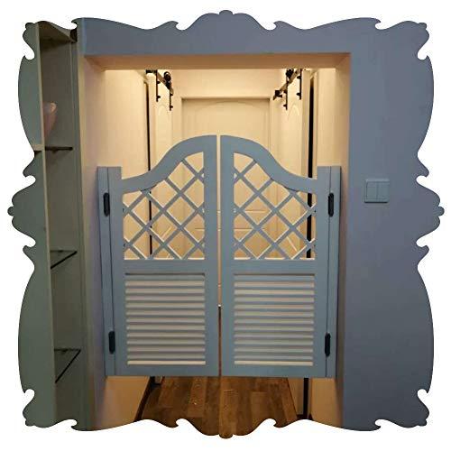 Cafe Puertas Contrapuertas Prefabricado Pino Louvered Puerta batiente de salón Auto Cerrado Puerta de mayordomo de salón Diseño de Rejilla para Entrada de la Cocina, 27 tamaño