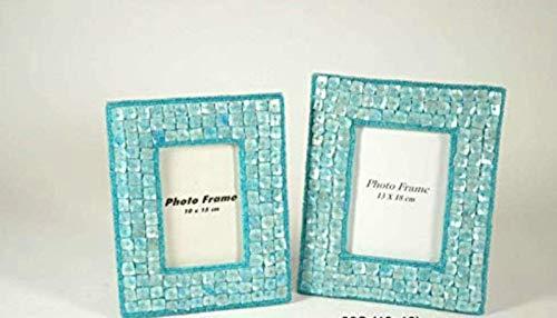 CAPRILO. Set de 2 Marcos de Fotos Decorativos Azul Turquesa. Portarretratos. Portafotos, Regalos Originales de Comunión y Bautizos. Decoración Hogar. Foto 10 x 15 cm. IB 8