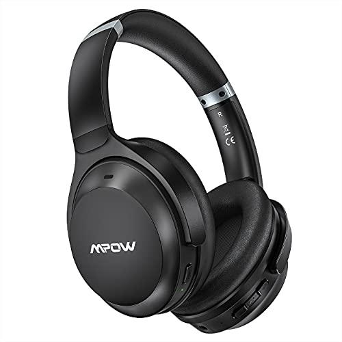 Cuffie Bluetooth 5.0 Cancellazione Attiva del Rumore, 40 Ore di ripr e Ricarica di Tipo C, Cuffie Mpow ANC Bluetooth 5.0, Bassi profondi, Auricolari morbidi, Microfono incorporato per Ufficio e Casa