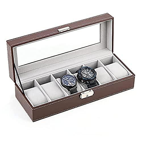 T.T-Q Estuche para relojes, estuche para relojes de cuero con 6 ranuras, estuche de exhibición de lujo, organizador, almacenamiento de joyas de vidrio para almacenamiento y exhibición, 30 * 11 * 8 cm