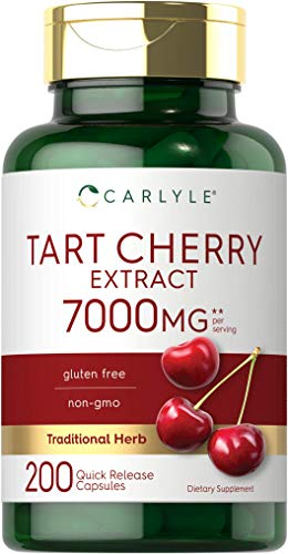 Tart Cherry Capsules | 7000 mg | 200 Pills | Max Potency | Non-GMO, Gluten Free | Tart Cherry Juice Extract | by Carlyle