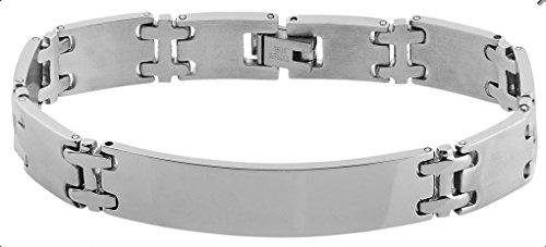Brillibrum ID Bracciale a maglie in acciaio inox con piastra d'incisione in argento e oro, cinturino in pelle nera e Acciaio inossidabile, colore: Gliederarmband, Modell 2, cod. MW-02