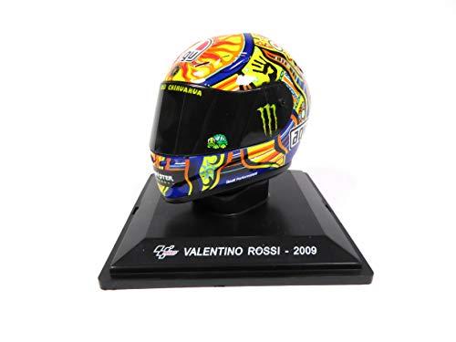 OPO 10 - Motorradhelm von Valentino Rossi (WC 2009) - Miniatur im Maßstab 1/5 (7 x 7 cm) - Abnehmbares Visier, aufsteckbarer Gegenstand auf graviertem Sockel (mitgeliefert) - Ref. MC001