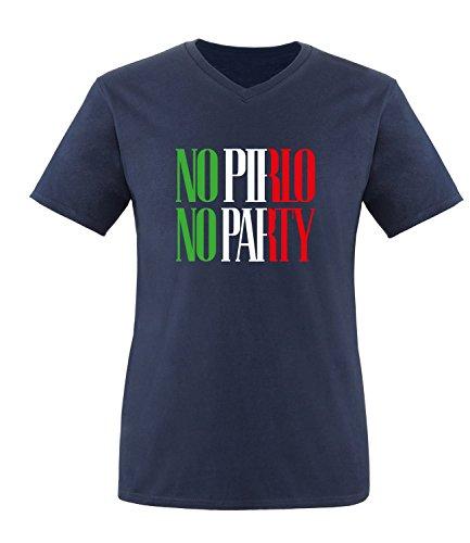 Luckja EM 2016 Trikot Italien Fanshirt No Pirlo No Party EM03 Herren V-Neck T-Shirt