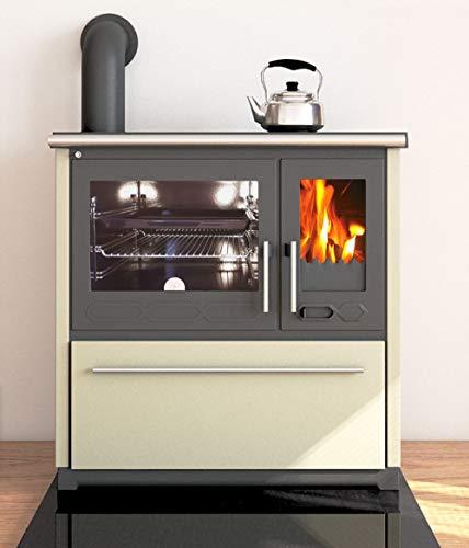 EEK A+ Küchenofen Holzherd Plamen 850 creme, linke Version - 8 kW Dauerbrandherd