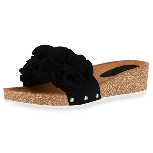 SCARPE VITA Damen Sandaletten Pantoletten Volants Kork-Optik Profilsohle Schuhe Keilabsatz Freizeitschuhe Bequeme Schlupfschuhe 193978 Schwarz 38