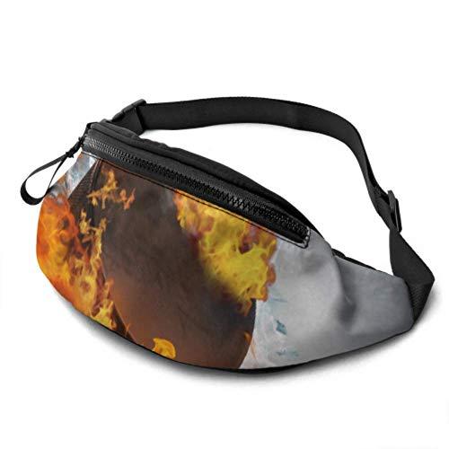 Niedliche Taillentasche Brennende Puckscherben Eis auf abstraktem Fitnessstudio Gürteltaschen für Frauen mit Kopfhöreranschluss und verstellbaren Trägern Reisebundentasche für Reisesportwandern