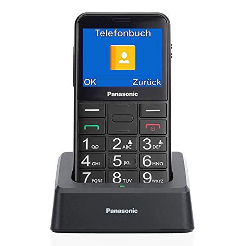 Panasonic KX-TU155 - Teléfono móvil SIM para personas mayores, pantalla de 2.4 , memoria hasta 32 GB, botón de emergencia, con base de carga, color negro