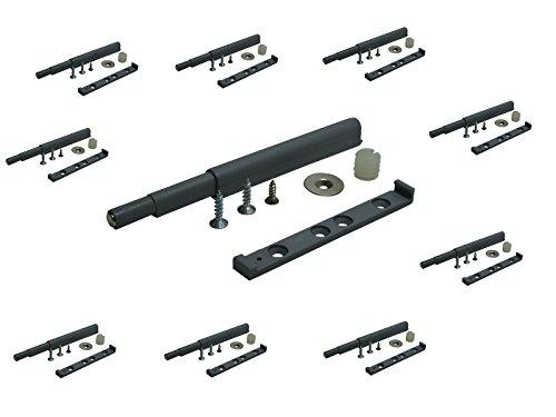 10 x SAMWERK® Druckschnäpper Druck Möbelschnäpper Schnäpper Federschnäpper mit Magnetspitze HUB 40mm grau