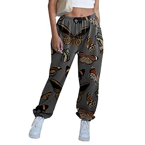 WJANYHN Pantalones De OtoñO E Invierno Moda EláStico Suelto Pantalones Deportivos Casuales con Pies