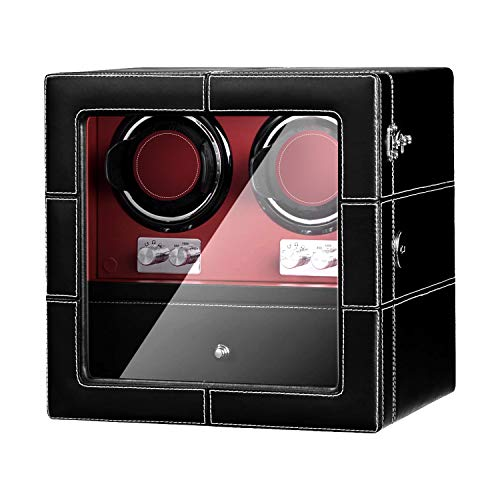 JQUEEN Watch Winder for Automatic Watches with Super Quiet Japanese Mabuchi Motor, Microfiber Leather,21 Rotation Mode Setting,Built-in Illumination