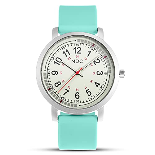 Medical Watches for Nurses Second Hand Watch for Nursing for Women Glow in The Dark Luminous Analog EMT Wristwatch Waterproof with Teal Silicone Band by MDC