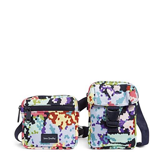Vera Bradley Recycled Lighten Up Reactive Convertible Belt Sling Crossbody Bag, Happy Blooms Cross-Stitch