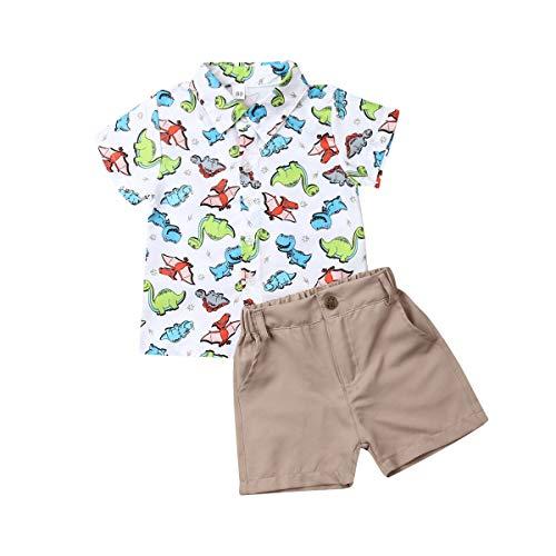 Geagodelia Set aus Dinosauriern, 2 Stück, Komplettset für Neugeborene, Kinder, kurzärmliges Hemd + Shorts für den Sommer 100 cm