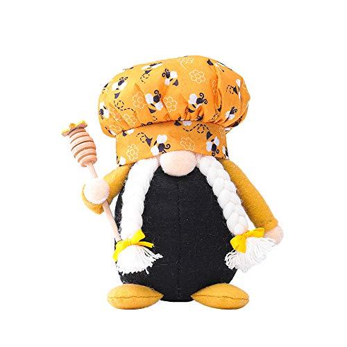 YUzzles Festival De La Abeja De Peluche Hu Sin Rostro Anciano-Decoración del Día Mundial De La Abeja-Abeja Enana Muñeca Elfo Sin Rostro Anciano Creativo Chef Decoración (Chef Mujer)