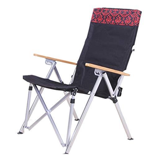 Draagbare campingstoel, aluminiumlegering, beweegbare opvouwbare luxe comfortabele fauteuil zwart outdoor stoel camping stoel rugsteun vouwstoel compact licht inklappen (kleur: zwart)