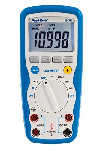 PeakTech 2175 – LCR-Meter für Widerstand, Kapazität, Induktivität, Messgerät, 11000 Counts, beleuchtetes LCD-Display, Staub- & Wasserdicht IP67, Digitales Multimeter, Strommessgerät, Durchgangsprüfer