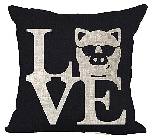 HZLM Funda de almohada con diseño de cerdo de animales adorables gafas de amor fondo negro decoración del hogar cojín cuadrado de lino 45 x 45 cm