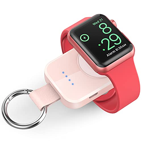 Portable Wireless Charger Compatible for Apple Watch Series 6/5/4/3/2/SE/Nike, Compact Magnetic iWatch Charger 1000mAh Power Bank Keychain Style Gift Your Mother Girl Birthday-Pink