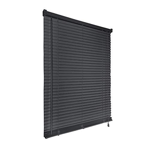 HENGMEI Jalousie breit aus PVC Kunststoff 100x160cm Jalousie Jalousett Fenster Rollo Wand- und Deckenmontage, Anthrazit