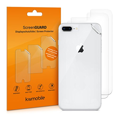 kwmobile 3X Schutzfolie Rückseite kompatibel mit Apple iPhone 7 Plus / 8 Plus - Folie Backcover Smartphone - Handyfolie transparent