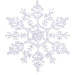 Pack of 12 White Gliitery Snowflake Christmas Tree Trims