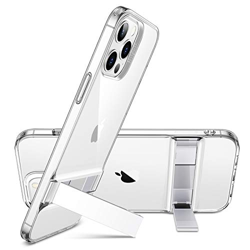 ESR Metal Kickstand Case Compatible with iPhone 12/Compatible with iPhone 12 Pro (2020) [Patented Design] [Two-Way Stand] [Reinforced Drop Protection] Flexible TPU Soft Back, 6.1' - Clear