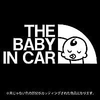 THE BABY IN CAR(ベビーインカ―)ステッカー パロディ シール 赤ちゃんを乗せています(12色から選べます) (白)