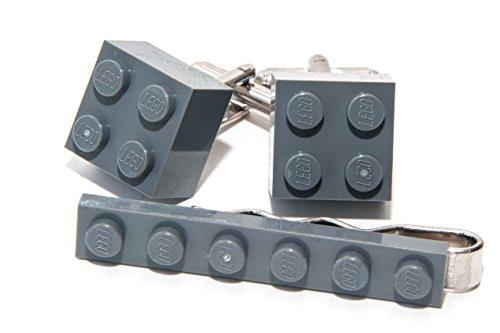 Jeff Jeffers Customs Pince à Cravate et Boutons de Manchette Assortis Lego Gris - Idée Cadeau